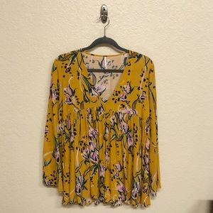 Free People Yellow Flowy Floral Top